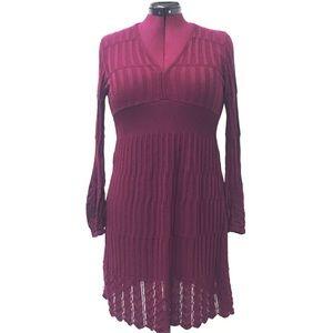 L Cranberry V Neck Crocheted Lace Sweater Dress